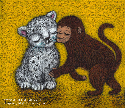 Snow Leopard and Monkey / 雪豹と猿
